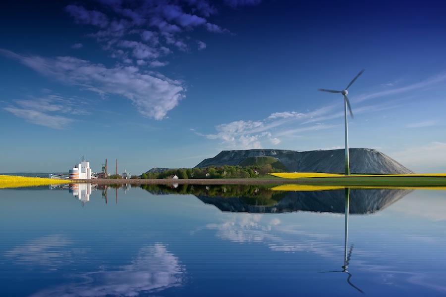 Salt lake and wind turbine