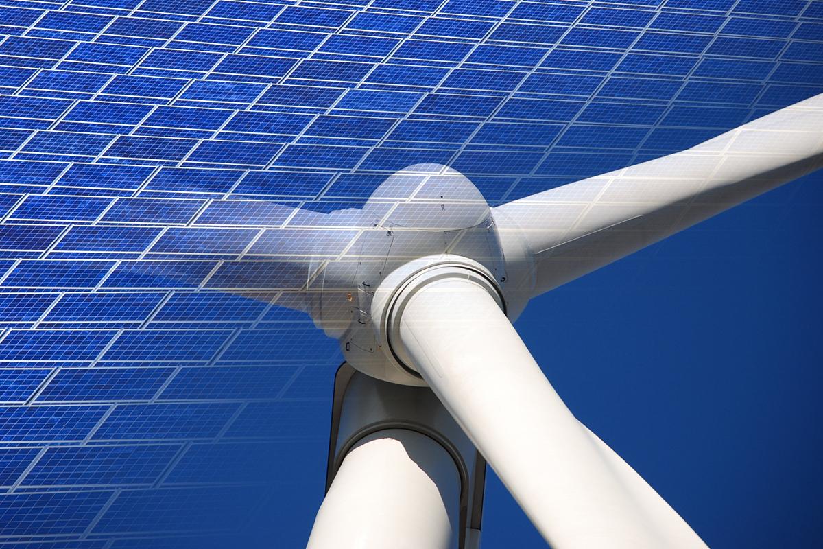 Solar panels & wind turbine